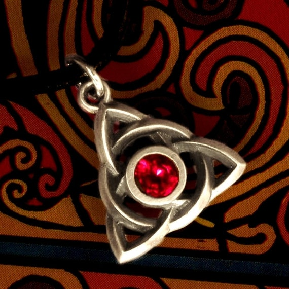 Celtic Sterling Silver Ruby Pendant Trinity Interweave Knot on Chain or Leather Cord CP-7R