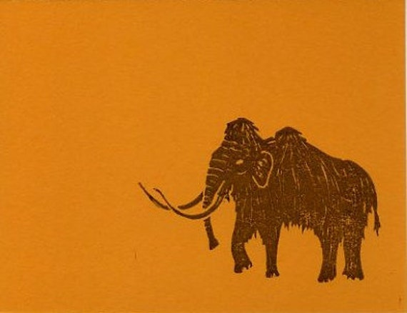 Block Print Greeting Card - Woolly Mammoth - Brown on Orange - Hand-stamped on Recycled Paper