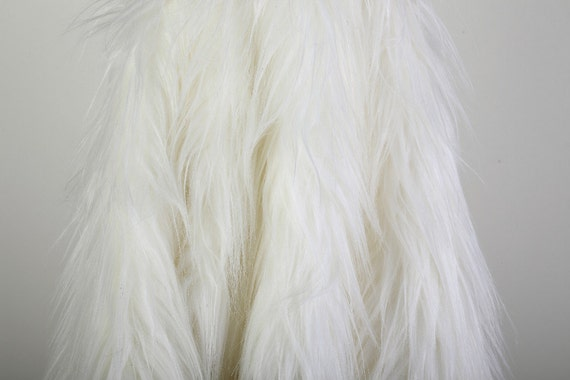 items similar to long shaggy off white faux fur fabric 1 yard on etsy. Black Bedroom Furniture Sets. Home Design Ideas