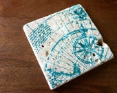 Tumbled Marble absorbent stone coasters Set of 4 Teal Green Map