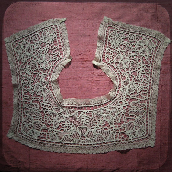 Antique Square French White Collar Lace - Vintage Fine Handmade Fashion from France