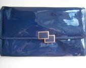 Sale 50% OFF Vintage Jane Shilton Patent Navy Blue Clutch Bag Retro