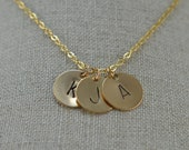 Personalized Custom Three Letter Initial Monogram Family Mother Mom Children Charm Necklace
