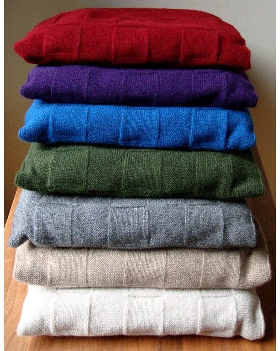 Luxurious Cashmere Travel Blanket and Flap Fold Pouch