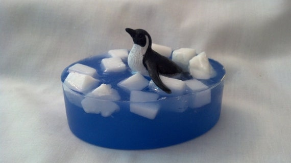 Ice Flow Belly Flop Penguin embedded toy soap bar in Juicy Kumquat scent by Lavish Handcrafted