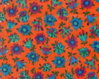 Vintage Orange Floral Fabric - 1 Yard