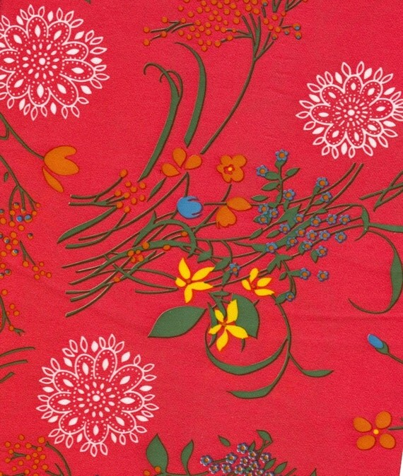 Vintage Red Floral Fabric - 2 Yards