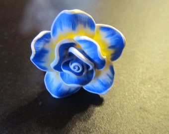 Blue and Yellow Rose Ring (Adjustable)