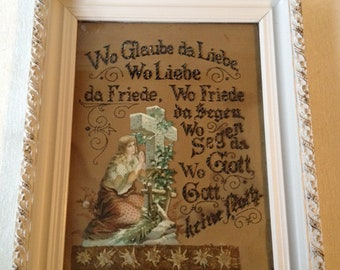 Embroidered German Picture, Framed, Punched Paper, Free Shipping in US
