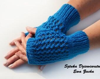 Blue Fingerless Mittens , fingerless gloves, fingerless glove in handmade-warmers