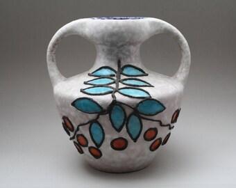 Marei Keramik White Fat Lava vase with a double handle