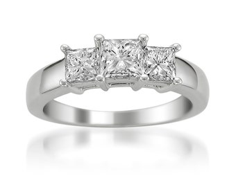 14k White Gold Princess-cut 3-Stone Three-Stone Diamond Engagement Ring (1 1/2 cttw, I-J, I1-I2)