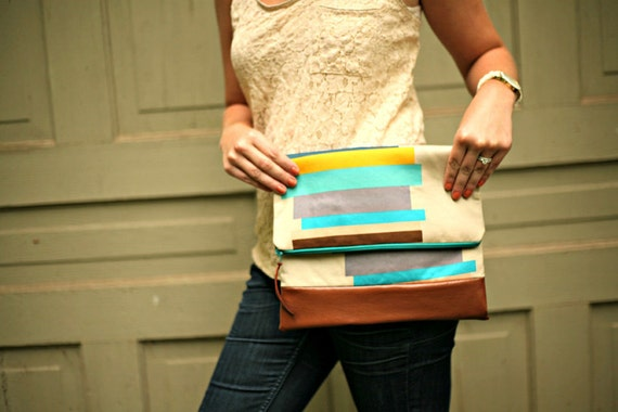 Fold Over Clutch in Blue, Turquoise, Yellow & Gray Stripes