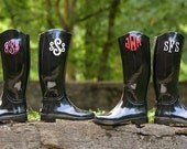 SHIPS FREE! Monogrammed Women's Rain Boots - Zoubaby - Embroidered - Personalized - Black Boots