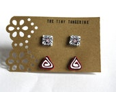 2 Pack of White, Black and Red Polymer clay Handmade Millefiori studs, Abstract Floral and Triangle swirl design.