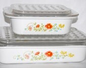 Two Beautiful Vintage Corning Ware Wildflower Casserole Dishes with Dimpled Lids