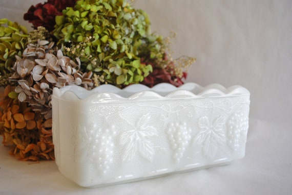 White Milk Glass Planter - Grapevine Pattern - Fire King - Anchor Hocking