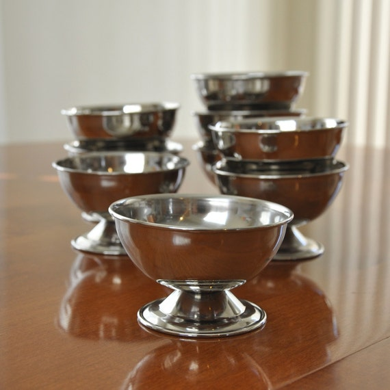 Footed Stainless Steel Ice Cream or Dessert Bowls - Set of 9