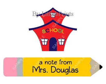 School Teacher Note Cards Set of 10 personalized flat or folded cards