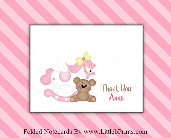 Little Girl Rocking Horse Teddy Bear Note Cards Set Of 10