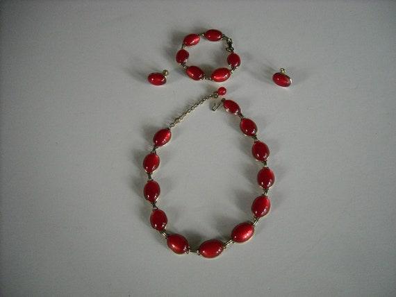 vintage ruby red necklace bracelet earrings set....59