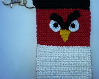 Red Bird Crochet Case with Keychain for iPhone, Smartphone, Camera, Cell Phone, MP3 Player