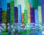 ORIGINAL TEXTURED   Palette Knife Skylines Abstract Painting Contemporary Art City Landscape Cityscape by Tanja Bell