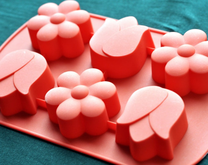 Flexible Silicone Silicon Soap Molds Cake Molds Pudding - 6 Sunflower Tulip