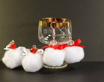 Snowball celebration - Lightweight Snow White and Red Soft Earrings