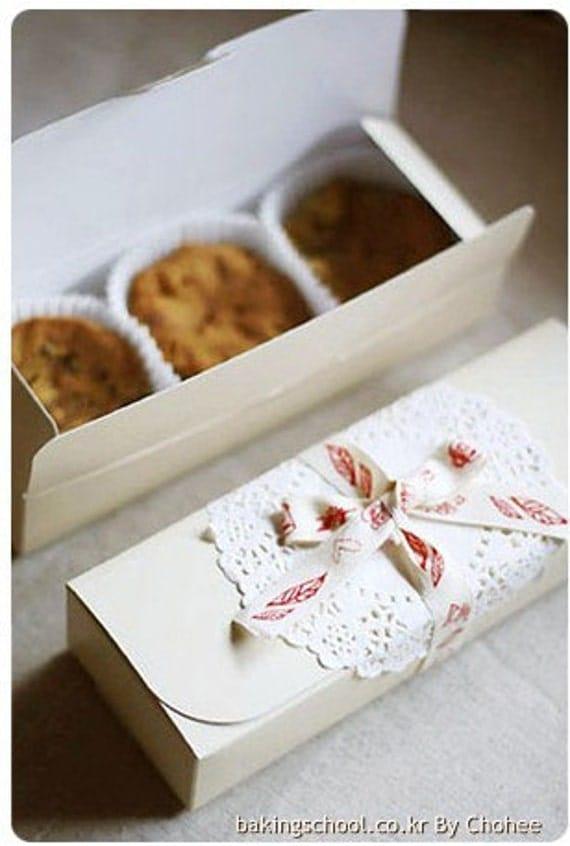 Design Your Own Cake Box : 6xRectangular White cookie cake cupcake macaroon Box