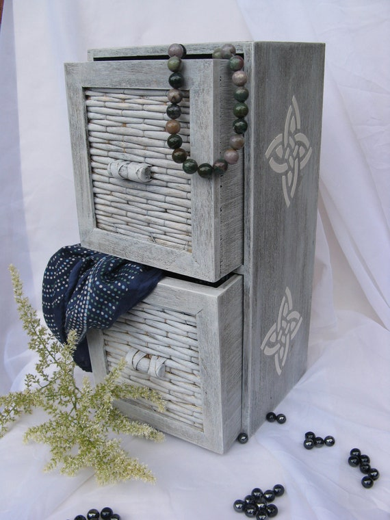Shabby Chic wooden two drawers storage box