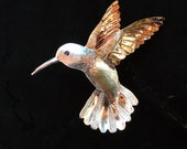 Hummingbird Pin / Pendant Sterling Silver & 14kt Gold Filled
