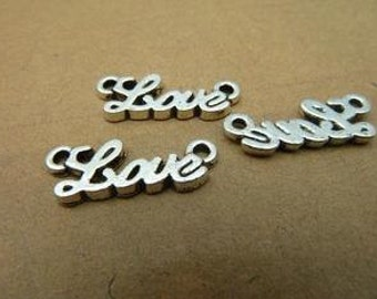 30pcs 8x20mm Cute Antique Silver Love Charm Connector - love in cursive