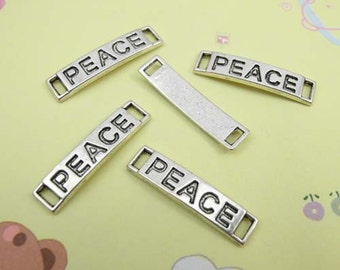 10pcs Antique Silver Rectangle Peace Charm Connector - Peace Tag Charm Connector 6x28mm