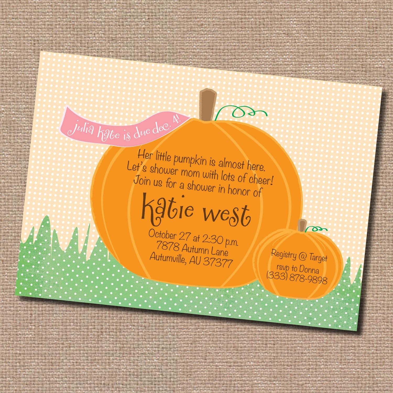 fall pumpkin baby shower invitation digital by dormineydesigns