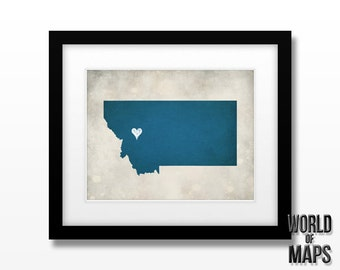 Montana State Map Print - Home Town Love - Personalized Art Print - Original Geographical Artwork