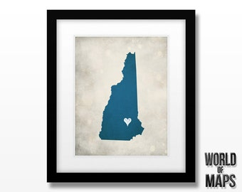 New Hampshire Map Print - Home Town Love - Personalized Art Print