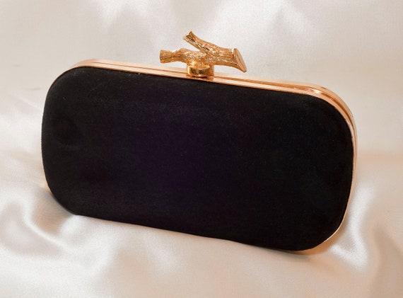 Black Suede Box Clutch with Twig Frame