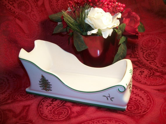 Spode Sleigh Christmas Tree Pattern Decorative Serving Dish