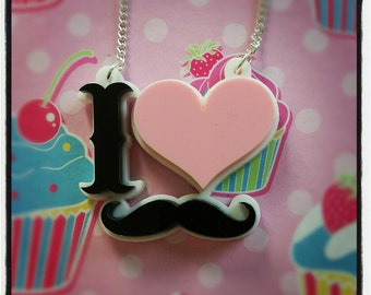 I Love Moustache Necklace