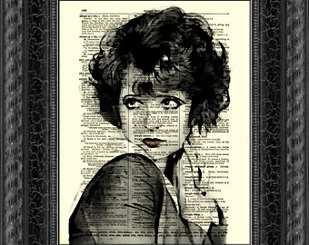 Clara Bow, Art Print, Antique Dictionary Page Art, Home Decor, Wall Decor