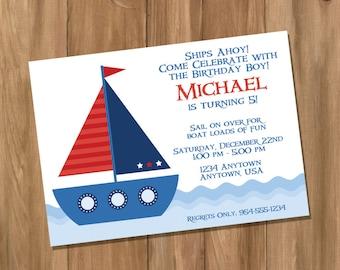 Sail Boat Nautical Birthday Party Invitation (Digital - DIY)