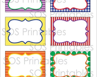 Primary Color Labels, Printable PDF, Editable Labels, Editable PDF, Instant Download, Immediate Download