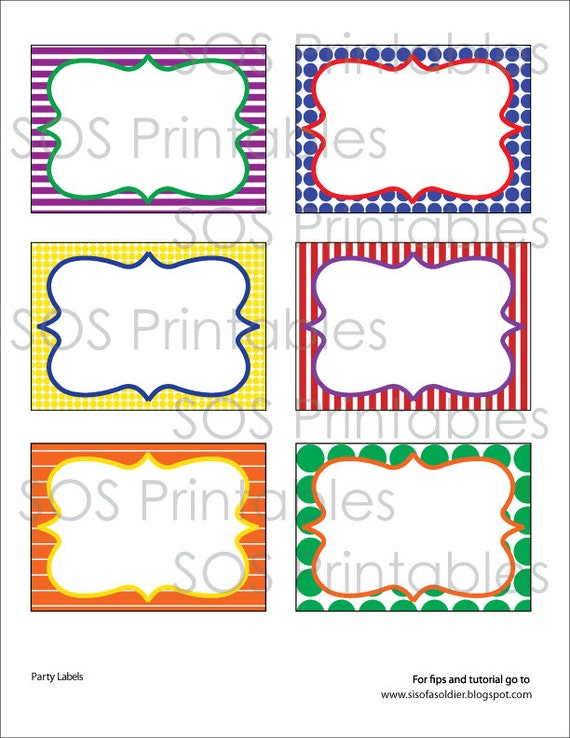 Primary Color Labels Printable PDF Editable Labels