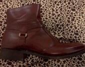 Vintage 1960s Stuart McGuire BILTRITE Mod Burgundy Leather Ankle Boots Mens Size 7.5 D