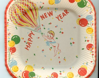 New Year's Vintage Paper Party Plates, Reed's, Old Store Stock, Balloons, Confetti, red, yellow, green! Treasury Pick
