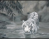 "Torrit the Tiger 18"" x 12"" White Tiger in Water print"