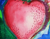 Home Grown original watercolor and ink painting inspired by California Strawberries yum
