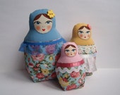 A Set of Varicolored Soft Matryoshkas (cloth Russian babushka dolls)
