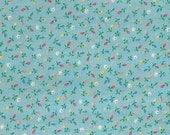 Vintage light blue calico fabric